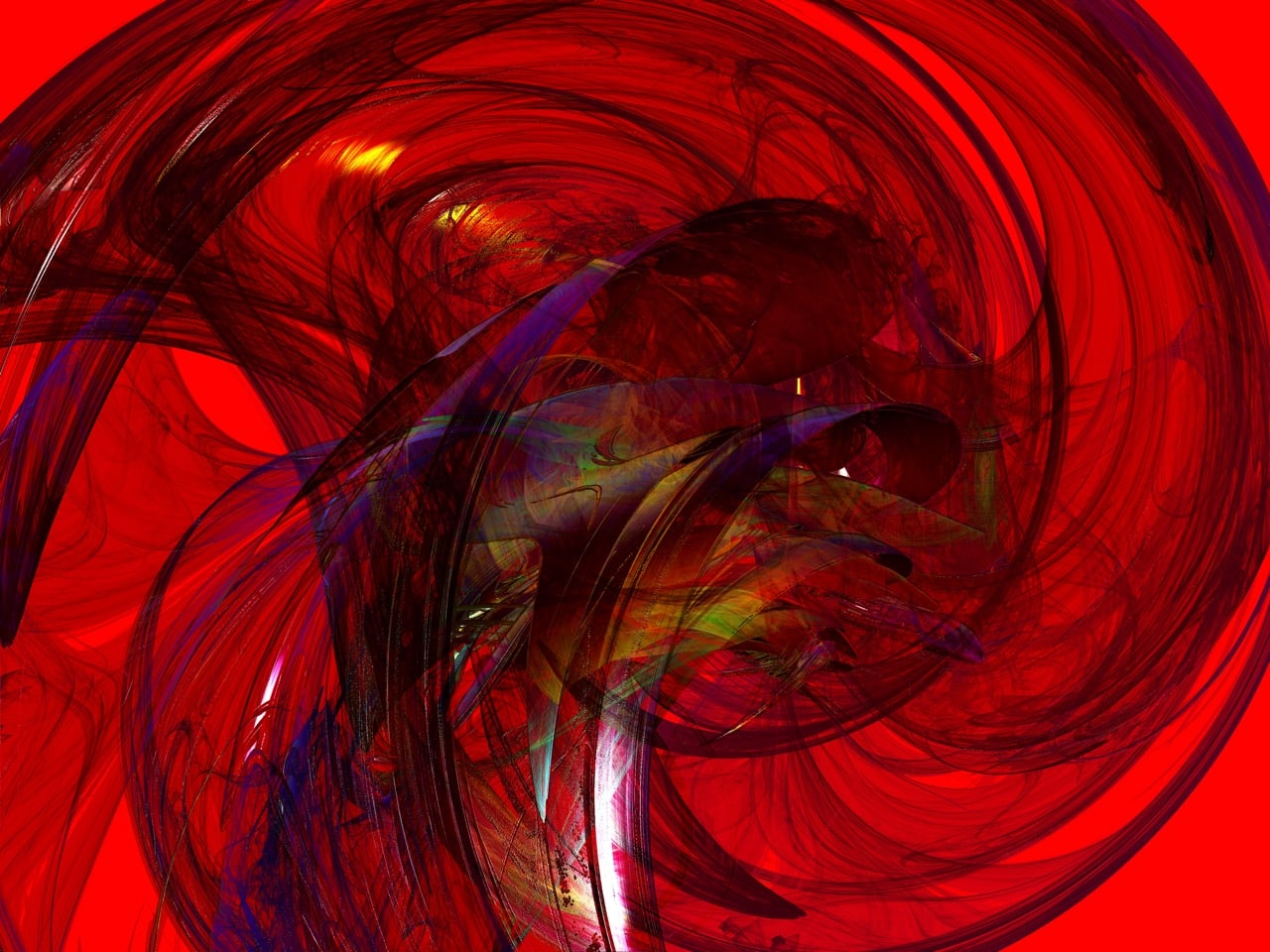 red fractal image with purple swooshing lines though it