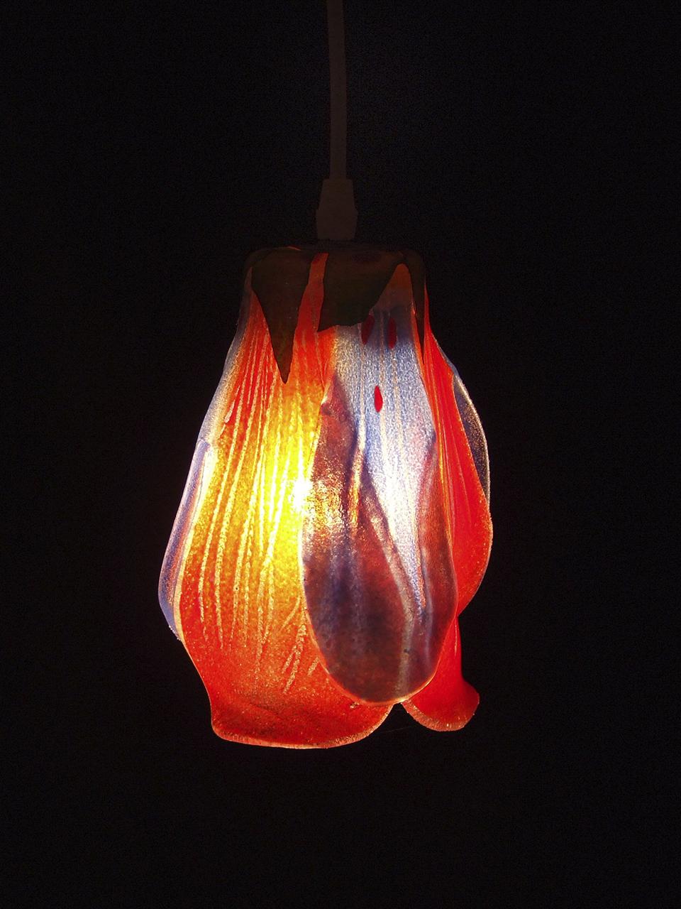 Red Tulip Glass Pendant